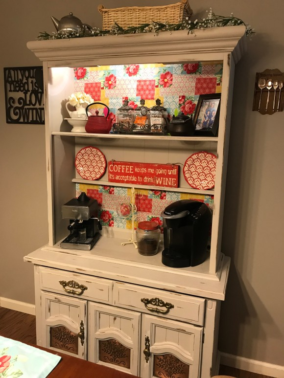 DIY Coffee bar made from an old hutch